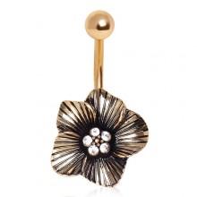 Piercing nombril plaqué or fleur exotique vintage avec strass