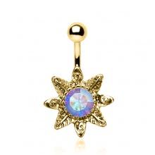 Piercing nombril plaqué or fleur sauvage avec pierre aurore boréale