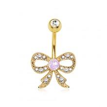 Piercing nombril plaqué or noeud papillon avec Opale et strass