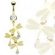 Piercing nombril plaqué or pendentif de libellules
