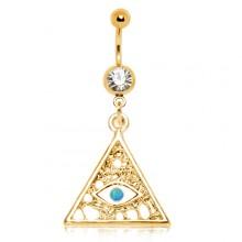 Piercing nombril plaqué or à pyramide illuminati