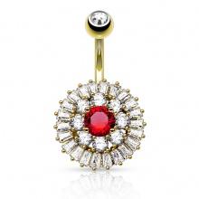Piercing nombril plaqué or style bouton de fleur majestueux à strass clairs et rouge