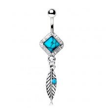 Piercing nombril plume et turquoise style indien