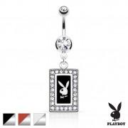 Piercing nombril portrait lapin Playboy à cadre gris argenté