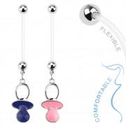 Piercing nombril pour femme enceinte avec tétine de bébé