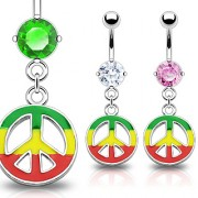 Piercing nombril Rasta Colored Peace