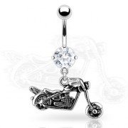 Piercing nombril rock moto biker