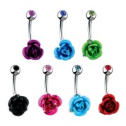 Piercing nombril rose à tige sertie