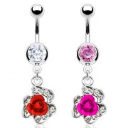 Piercing nombril rose majestueuse