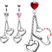 Piercing nombril serti avec menottes en coeur