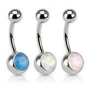 Piercing nombril serti d'une pierre d'opale