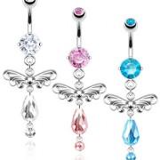 Piercing nombril serti et perlé avec ailes d'ange