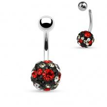 Piercing nombril shamballa à pierres noires, claires et rouges