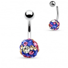 Piercing nombril shamballa bleu à pierres multicolores