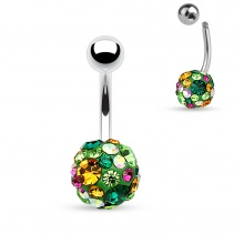 Piercing nombril shamballa vert à pierres multicolores