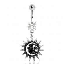 Piercing nombril soleil et lune fusionnés style vintage