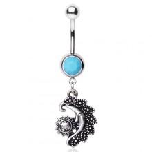 Piercing nombril soleil et lune style vintage avec turquoise