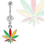 Piercing nombril stass à feuille de cannabis Rasta