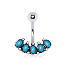Piercing nombril style antique avec arc de turquoises ovales
