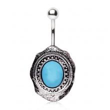 Piercing nombril style broche antique avec turquoise ovale