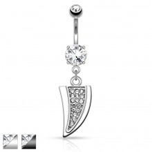 Piercing nombril style dent de dragon pavée de strass