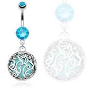 Piercing nombril style oriental à arabesques et turquoise