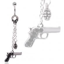 Piercing nombril tête de mort à pendentifs pistolet et grenade