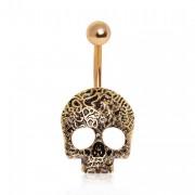 Piercing nombril tête de mort dorée vintage