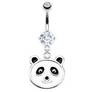 Piercing nombril tête de panda à pierre claire