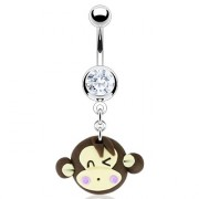 Piercing nombril tête de singe