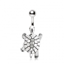 Piercing nombril tortue de mer avec strass