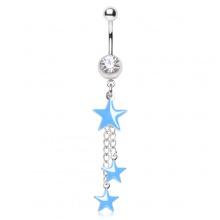 Piercing nombril trio d'étoiles bleu ciel suspendues