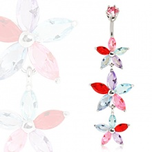 Piercing nombril triple fleur à pétales strass multicolores