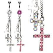 Piercing nombril triple-pendentif croix