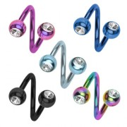 Piercing nombril twist ionisé titanium à boules serties