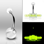 Piercing nombril UV Clear Ball Glow Sticks