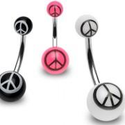 Piercing nombril UV logo paix et amour
