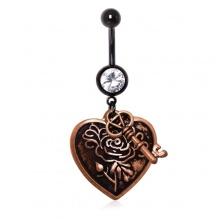 Piercing nombril vintage à pendentifs coeur et clé