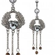 Piercing nombril vintage avec coeur ailé et perles