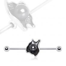 Piercing oreille industriel à coquillage et perle noire
