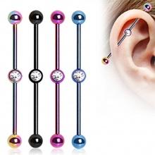 Piercing oreille industriel plaqué IP titanium à boules avec strass