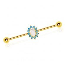 Piercing oreille industriel plaqué or à Opale ovale bordée de Turquoises