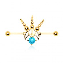 Piercing oreille industriel style cosmique plaqué or avec turquoise