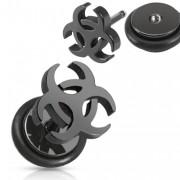 Piercing oreille style faux plug noir avec symbole Biohazard