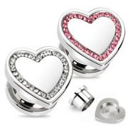 Piercing plug acier coeur pavé de pierres