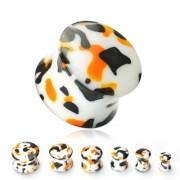 Piercing plug camouflage orange blanc noir
