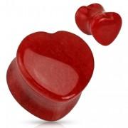 Piercing plug coeur scupté en Jade rouge