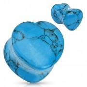 Piercing plug coeur scupté en Turquoise