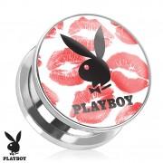 Piercing plug écarteur en acier Playboy avec lapin et lèvres