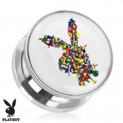 Piercing plug écarteur en acier Playboy avec lapin multicolore